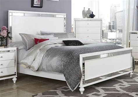 Glitzy 4 Pc White Mirrored King Bed Ns Dresser & Mirror