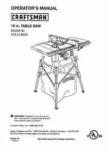 Craftsman 315 218050 Saw Operator U0026 39 S Manual Pdf View  Download