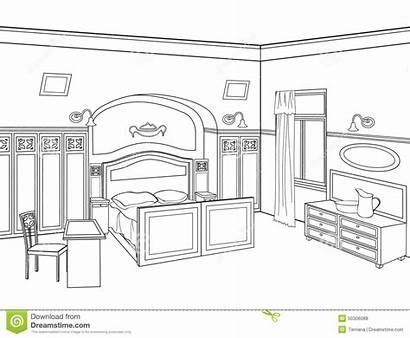 Bedroom Outline Furniture Drawing Sketch Interior Letto