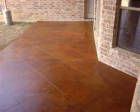 staining concrete stained concrete reddish brown new patio 36 inch tile engraving aged leather view more