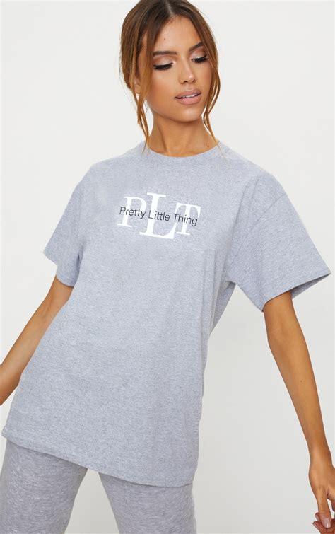 PRETTYLITTLETHING Grey Oversized Slogan T Shirt ...
