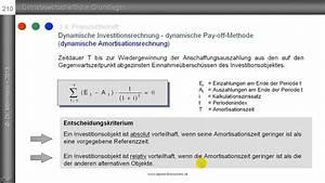Total Cash Flow Dynamische Amortisationsrechnung Pay Off Methode
