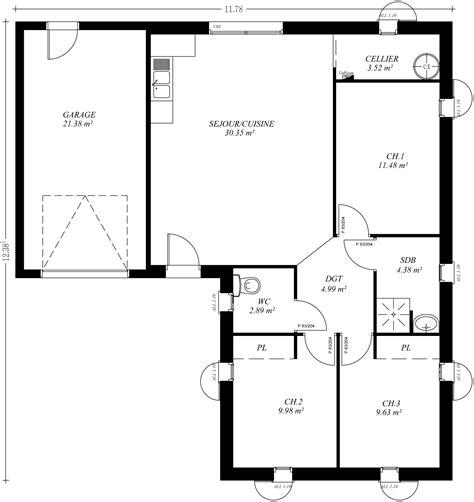 plan maison 3 chambres plain pied garage plan maison en l plain pied 28 images grande maison de