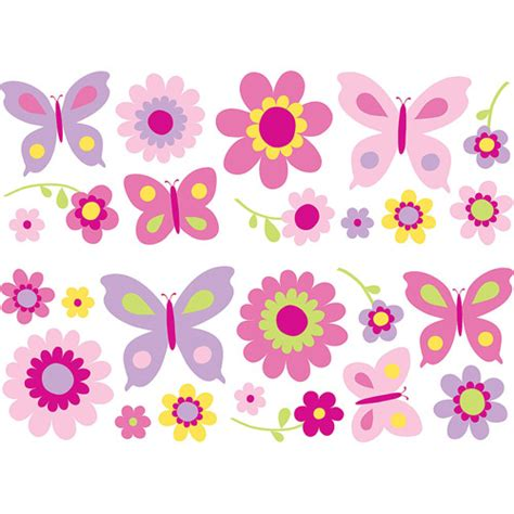 butterfly wall decor target fun4walls butterfly and flowers wall decals walmart