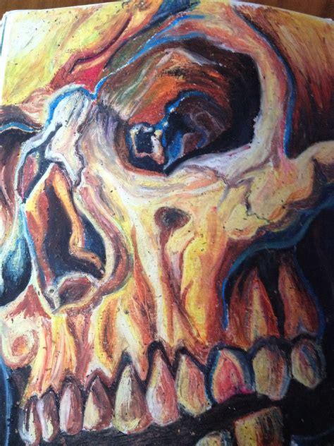 Oil Pastel Skull Shahban Haque Painting