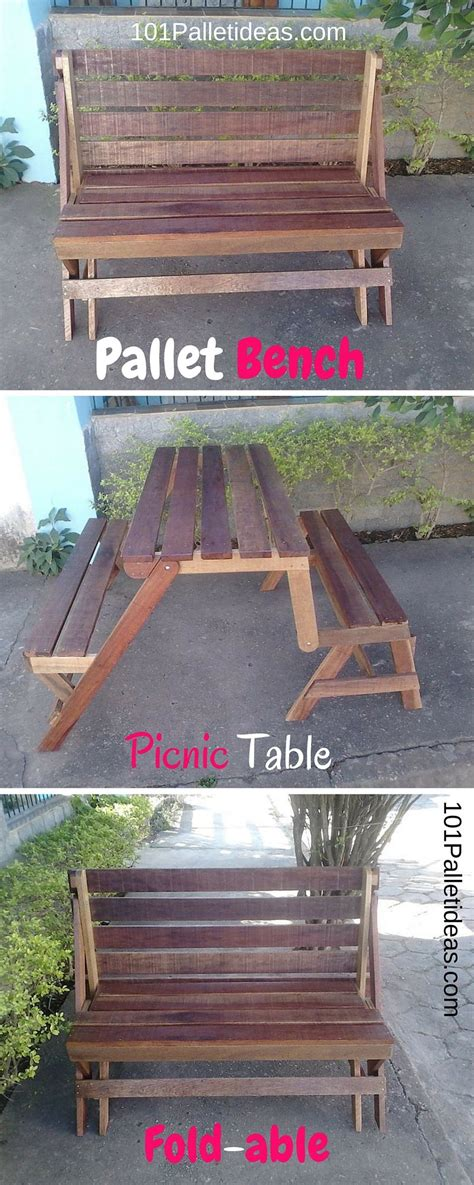 diy fold  pallet bench picnic table  pallet