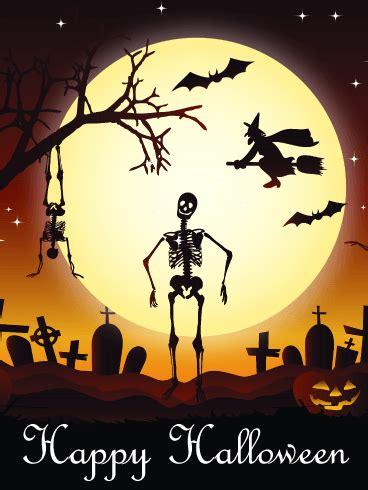 dancing skull happy halloween card birthday greeting