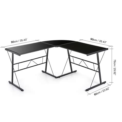 bureau angle noir bureau d 39 angle en verre trempé noir interougehome