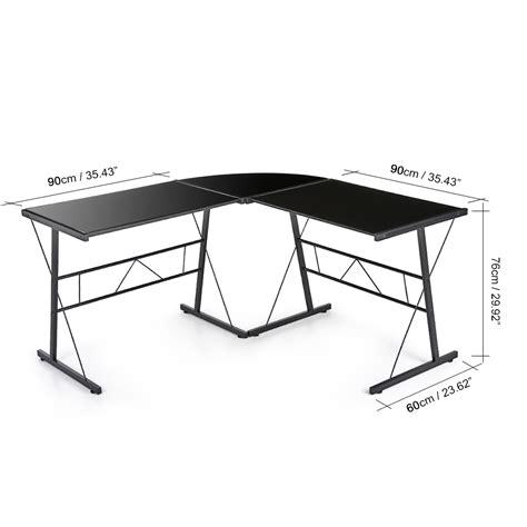 bureau d angle bureau d 39 angle en verre trempé noir interougehome