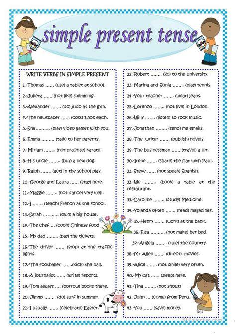 printable exercises  simple present tense letter