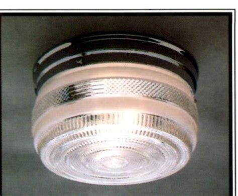 NEW Drum CHROME Vintage GLASS Retro CEILING LIGHT FIXTURE