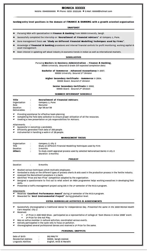 attractive resume format for freshers it resume cover