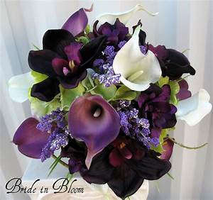 Plum Calla Brides Bouquet Real Touch Calla Lily Orchid