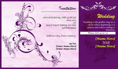 wedding card template word excel  templates