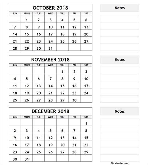 month calendar october november december  december