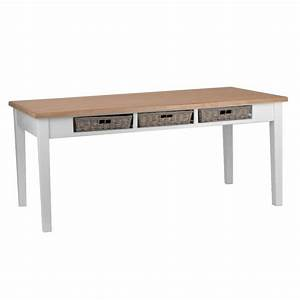 Table Salle A Manger Blanche Et Bois : table blanche plateau bois massif achat vente table ~ Teatrodelosmanantiales.com Idées de Décoration