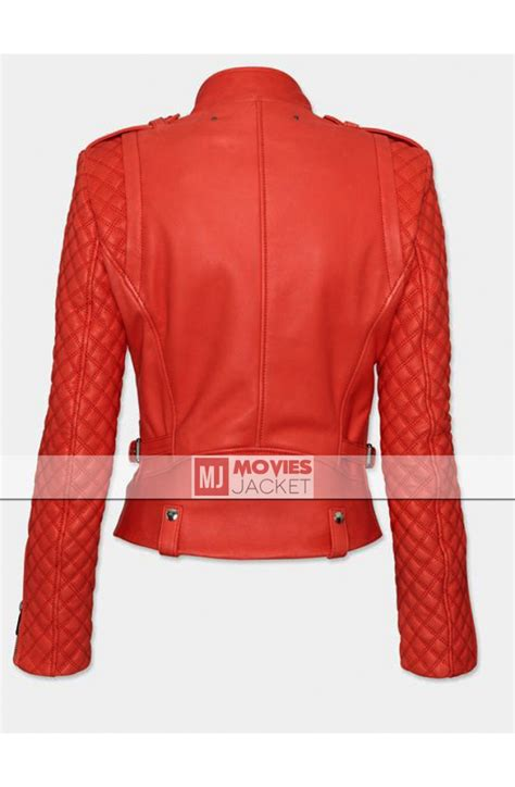 red leather motorcycle jacket womens 39 red leather motorcycle quilted jacket