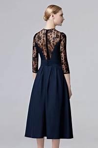Robe Mi Longue Mariage : femme robe bleu nuit invit mariage mi longue col illusion en dentelle ~ Melissatoandfro.com Idées de Décoration