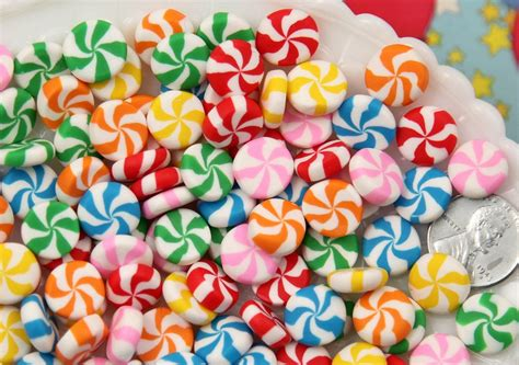 mm chunky peppermint swirl candy drop clay  resin