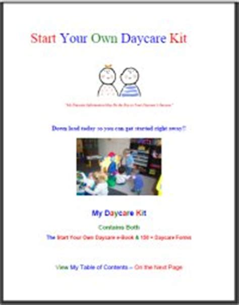 free samples view and start your own 177   Starting A Daycare Info