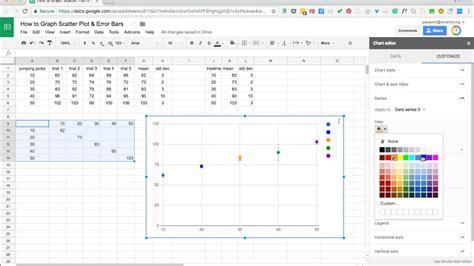 graphing individual error bars  scatter plot  google