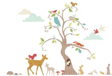 Wandtattoo Kinderzimmer Waldtiere by Funtosee Wandtattoo Waldtiere Am Baum Wandsticker Deko Set
