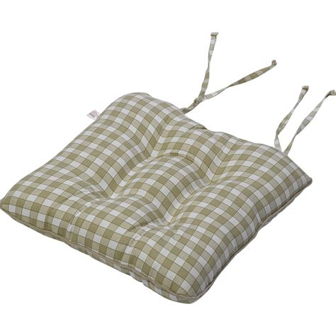gingham check cotton seat pad 14 quot x 15 quot kitchen outdoor