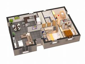 plan maison plain pied 3d gratuit With plan d appartement 3d 1 plan de maison 60m2 3d