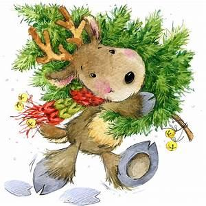 Funny, Deer, Santa, Claus, Watercolor, Illustration, Stock, Illustration
