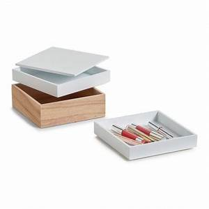 Boite De Rangement Maquillage : 3 boites rangement maquillage superposees bois zeller 15171 ~ Dailycaller-alerts.com Idées de Décoration