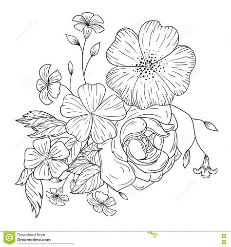 flower coloring books a bouquet of flowers for coloring books stock vector