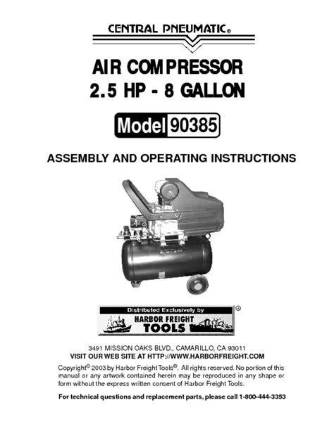 Central Pneumatic Airbrush Compressor Manual | Rangement