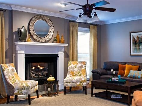gray transitional living room  large white mantel hgtv