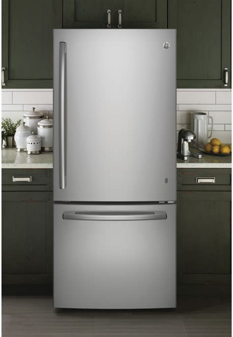 ge gbedskss   bottom freezer refrigerator   cu ft capacity led lighting