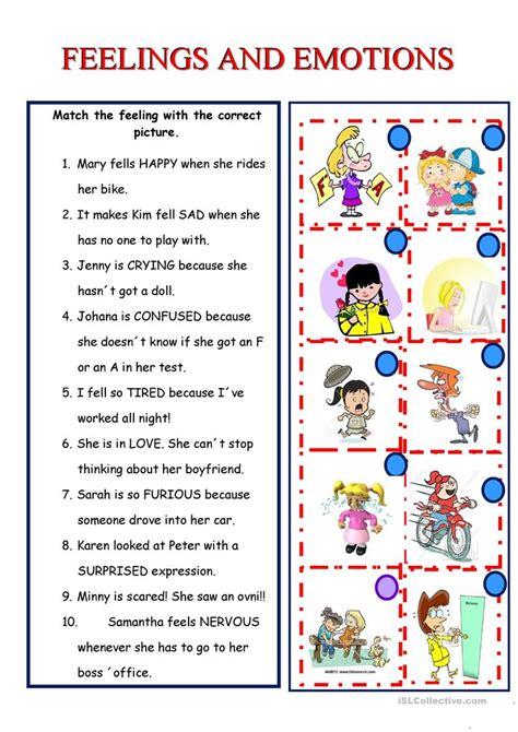 feelings and emotions worksheet free esl printable