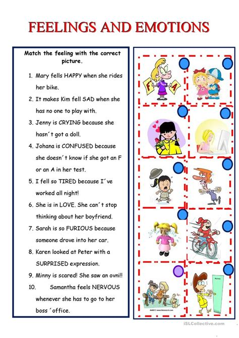 feelings  emotions worksheet  esl printable