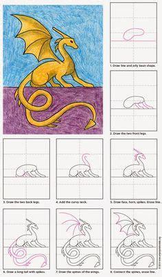 easy  draw cartoons   draw  dragon square