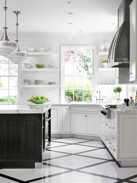 black  white painted kitchen floor design ideas
