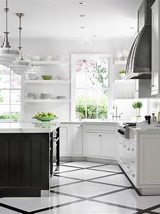 Black And White Painted Kitchen Floor Design Ideas