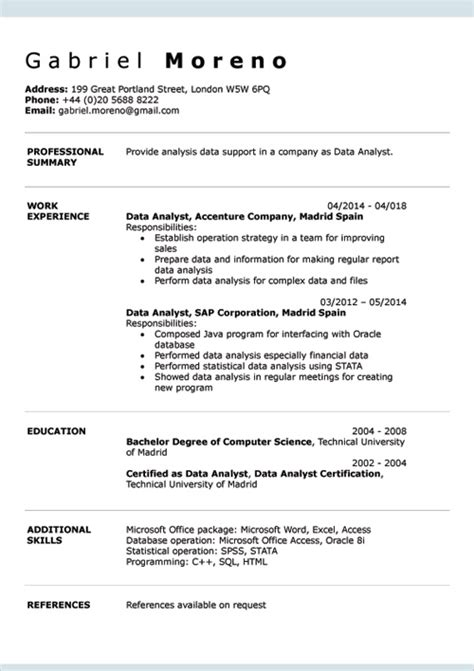 Professional Cv Template Word Document by Cv Exles Doc Template Creator