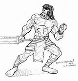 Barbarian Conan Coloring Mobile Deviantart Larger Printablecolouringpages Credit sketch template
