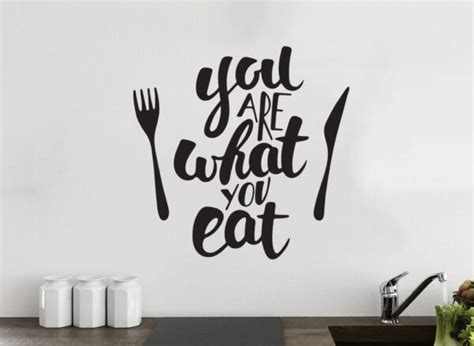 Make a statement with this rustic set of three eat art prints. You are what you eat Kitchen Wall Decor Vinyl Sticker Decal Mural Art Decoration