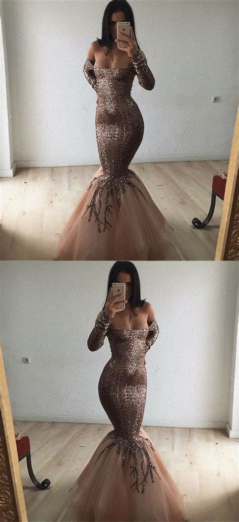 mermaid   shoulder long sleeves gold tulle prom
