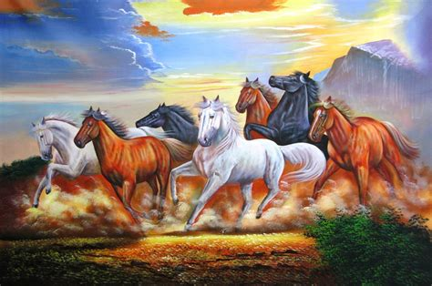horses horse painting paintings fire within running hd lucky luck vastu 36in 24in handpainted choose save community rs x49po artists