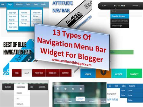13 Types Of Navigation Menu Bar Widget For Blogger