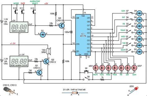 alarm clock  day selector circuit diagram