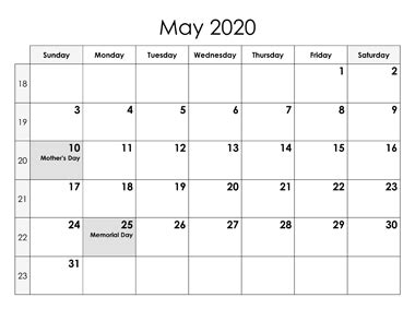 May 2020 Calendar with Holidays Printable