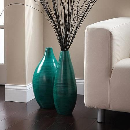Teal Glass Floor Vase by Expressions By Hosley Rounded Bamboo Vase Teal