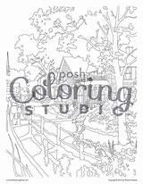 Hometown Memories Coloring Adult Kinkade Thomas Memoirs Posh sketch template