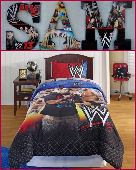 wwe inspired wooden letters    theme college team  bedding  boy  girl